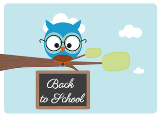 back to school, cute owl with a pair of glasses