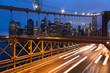 canvas print picture - Car traffic on Brooklyn Bridge in New York - USA