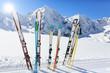 Skiing , mountains and ski equipments on ski run - 70539086