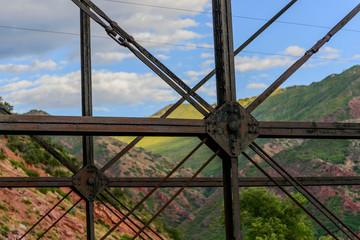 Steel bridge crossing a river