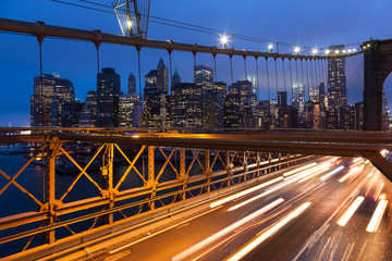 Car traffic on Brooklyn Bridge in New York - USA