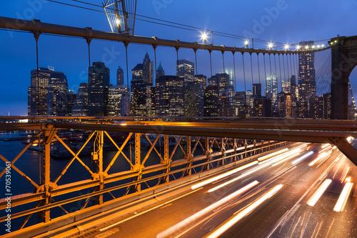 canvas print picture Car traffic on Brooklyn Bridge in New York - USA