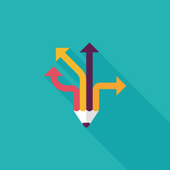 pencil ribbon arrow flat icon with long shadow,eps10