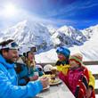 Winter, ski - skiers enjoying lunch
