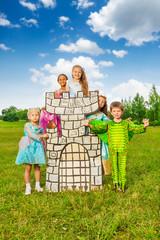 Happy children diversity in theatric costumes play