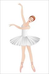 Dancing ballerina, isolated on white