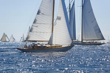 Ancient sailing boat during a regatta at the Panerai Classic Yac