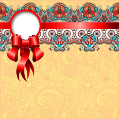 ethnic ornamental pattern with silk ribbon