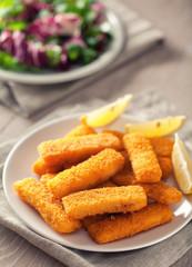 Fish Sticks with Salad