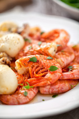 Grilled prawns and cuttlefish