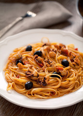 Pasta with octopus and olives