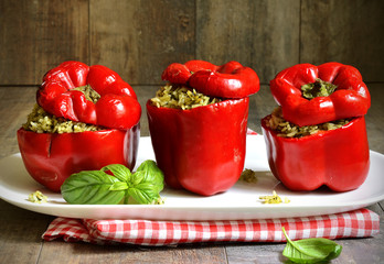 Sweet pepper stuffed with rice and basil pesto.