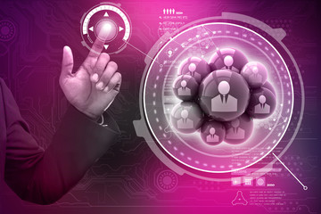 Smart hand showing social networking bubbles
