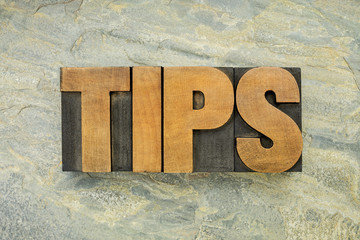 tips word in wood type