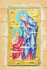 Mosaico Ges e Vergine Maria, sfondo con trama