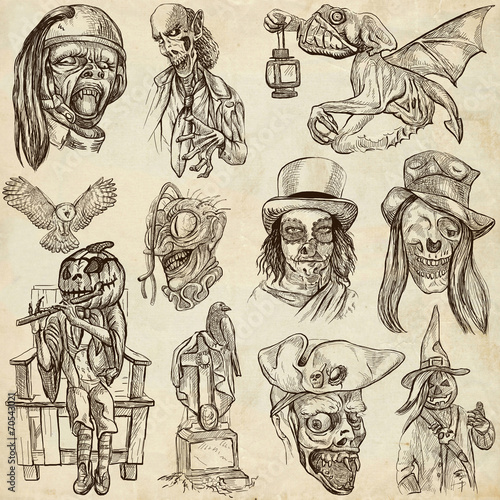 Staande foto Imagination Halloween, Monsters, Magic - An hand drawn collection