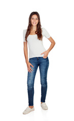 Smiling young girl with jeans standing