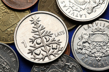 Coins of Latvia. Christmas Tree.