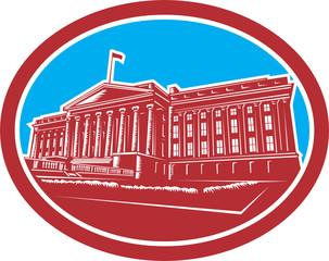 The Treasury Building Washington DC Woodcut Retro