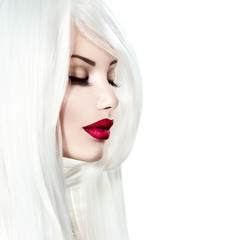 Portrait of beauty model girl with white hair and red lipstick