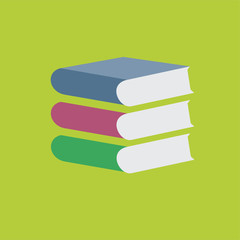 Colored vector books stack on green