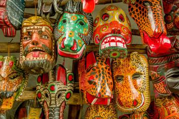 mayan wooden masks guatemala market