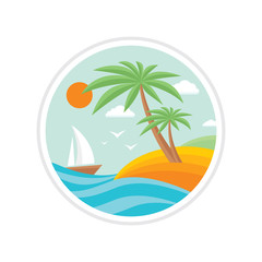 Summer holiday - creative logo sign in flat design style