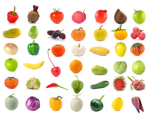 collection of Fruits and vegetable isolated on white background