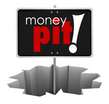Money Pit Sign in Hole Wasteful Spending Bad Investment poster
