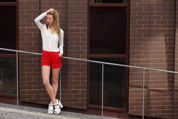 Beautiful slim model on the street