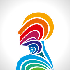human head thinking. making from multicolor
