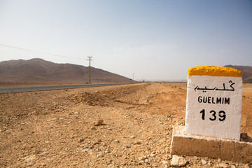 Famous white and yellow road sign, Morocco