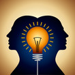 Human heads with Bulb symbol Business concepts