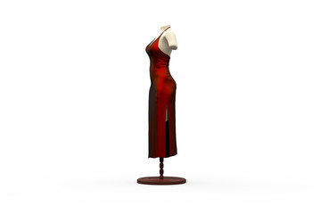 Red Dress / 3D model / Horizontal