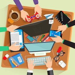 Desk, vector illustration flat design