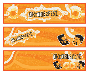 Oktoberfest. Set of three vector banners with funny characters