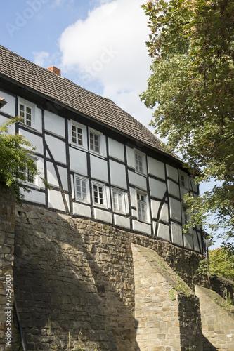 canvas print picture Fachwerkhaus im Nikolaiviertel von Unna, NRW, Deutschland