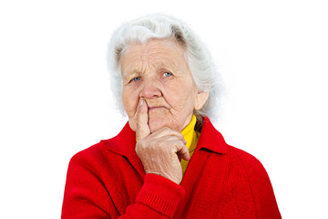 Skeptical senior woman with pessimistic face expression