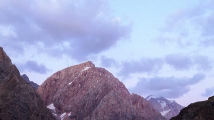 Mountains at sunset. Panorama. Time Lapse. Tajikistan. 4K