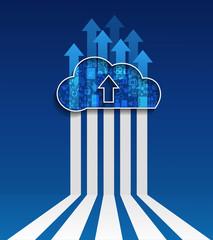 Cloud Computing.Cloud upload.Social network group concept.