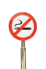 No smoking signpost on white background