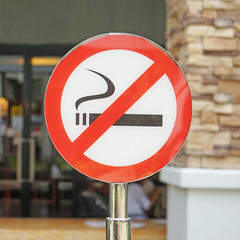 No smoking signpost , outdoor area
