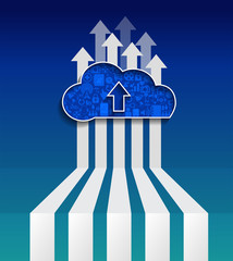 Cloud Computing.Upload cloud.Social network group concept.