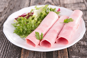 ham rolled and salad
