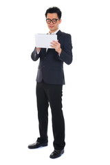 chinese business man using tablet