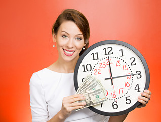 Time is money businesswoman manager reminds employees