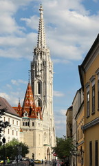 BUDAPEST - JUNE 27: View to Matthias Church in the Castle Distri