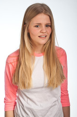 Scandinavian cute young girl irritated expressions