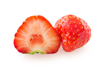 Half of the strawberries and the whole berry on white background