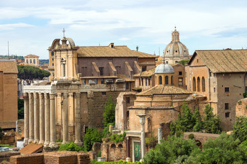 Picturesque ruins in the center of Rome, Italy